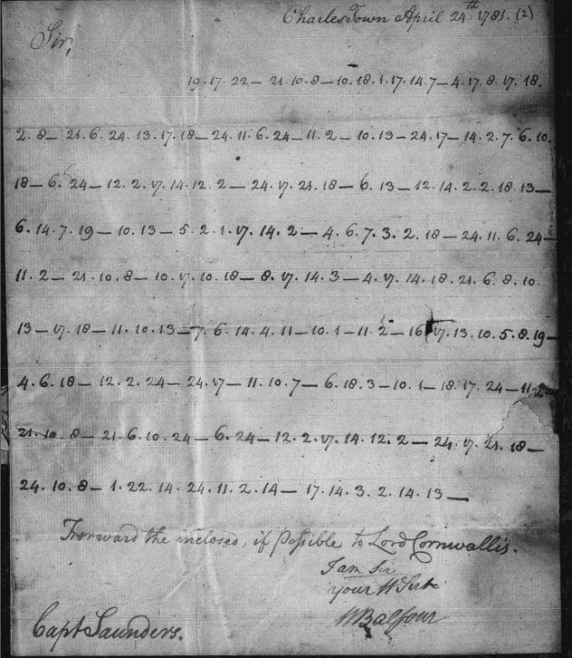 John Saunders Coded Letter