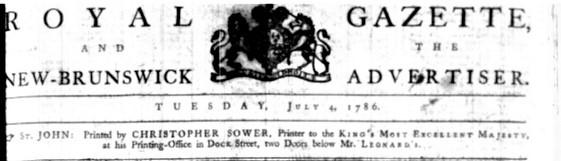 Royal Gazette header 1786