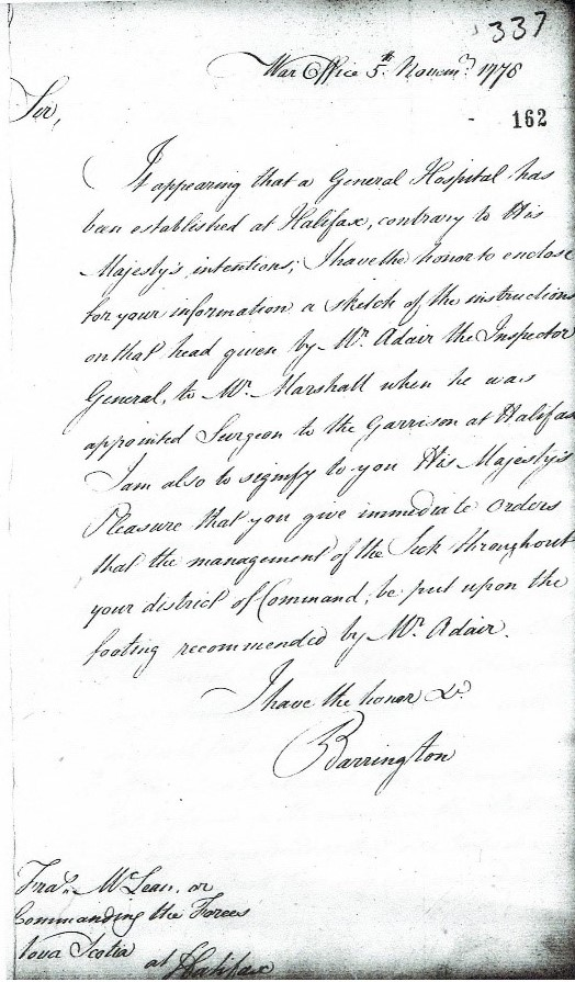 Lord Barrington Letter
