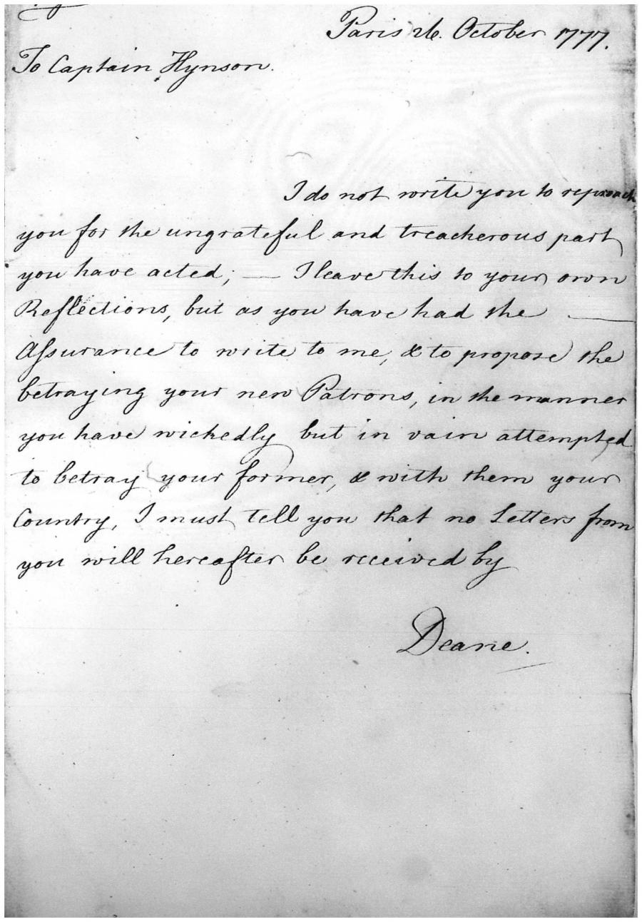 Letter Deane to Hynson