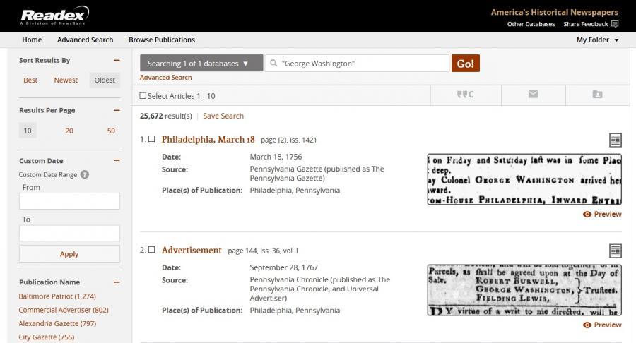 screenshot America's Historical Newsapapers