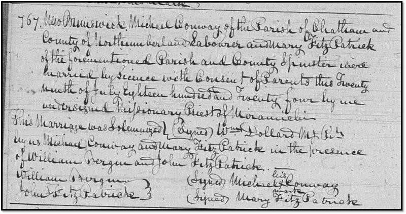 Northumberland Marriage Record