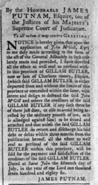 Royal Gazette July 1786