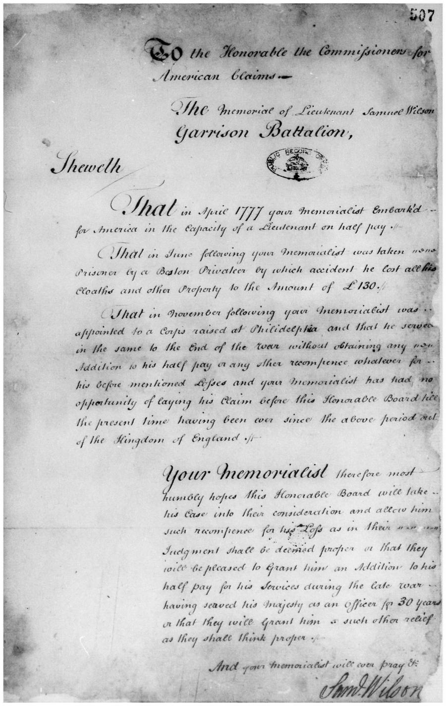 Wilson loyalist claim