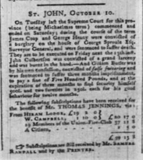 Royal Gazette Oct 1786
